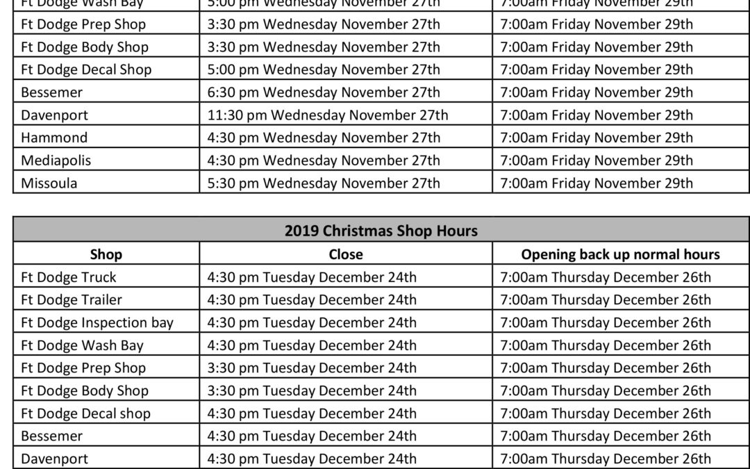 2019 Holiday Shop Hours (11/27/2019)