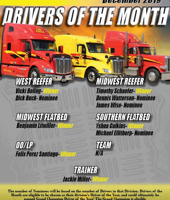 December Drivers of the Month (1/15/2020)